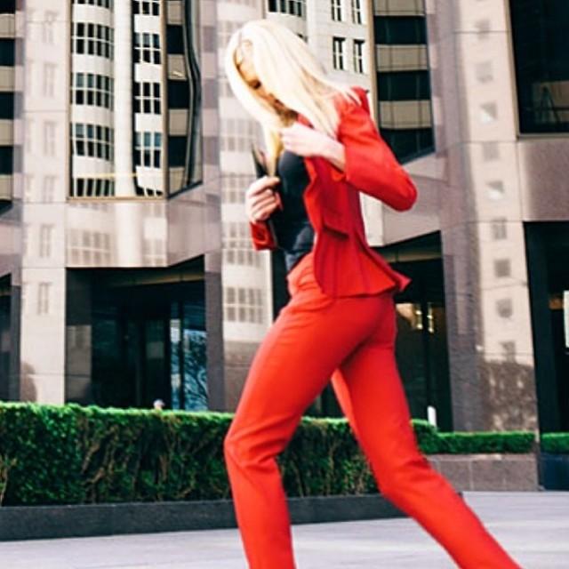 chaiken red suit