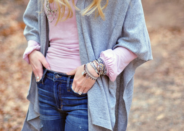 2 pink turtleneck-gray poncho sweater-jeans