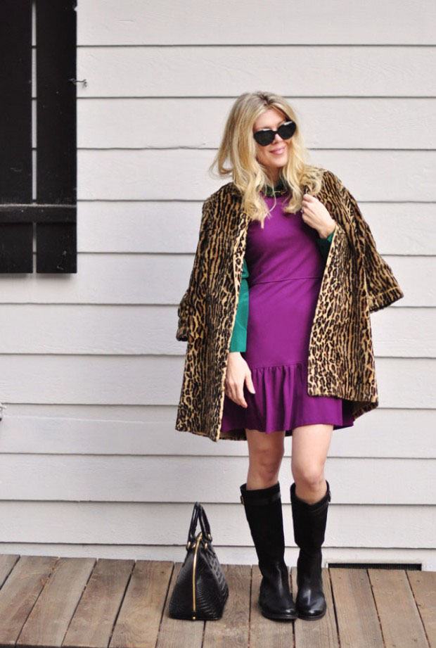 purple dress with leopard coat and boots for fall