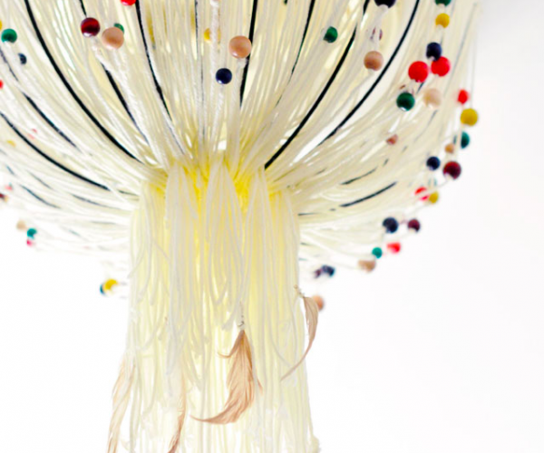 DIY Boho eames beaded and feather pendant light cover