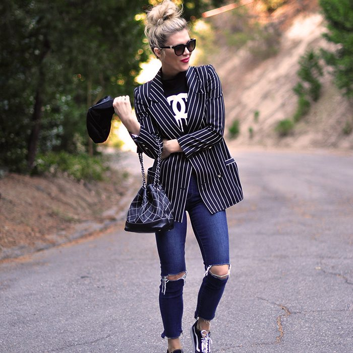 blazer and jeans - chanel bag and old skool vans sneakers