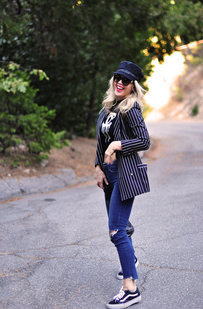 striped blazer, crop top, jeans, chanel bag, old skool vans, love maegan tintari