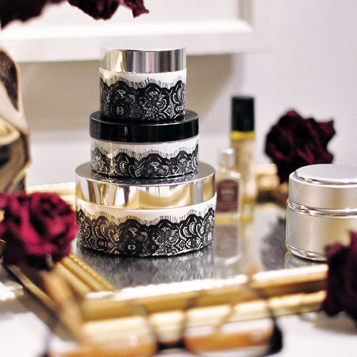 repurposing face cream jars to DIY Pretty Lace Containers