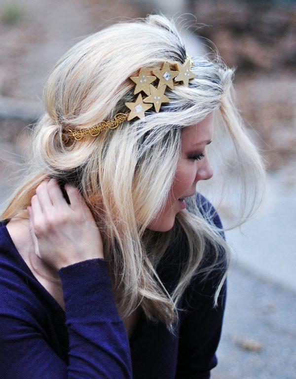DIY starry night gold headband for prom