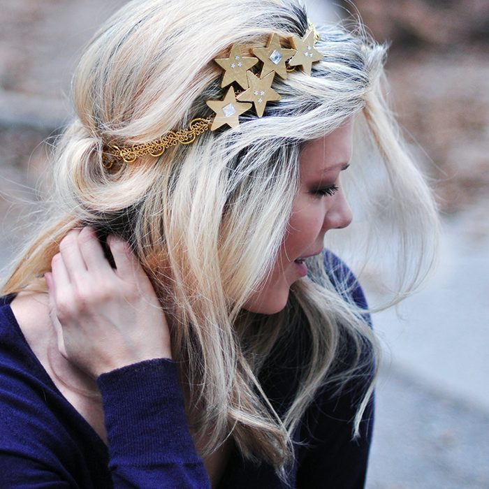 DIY starry night gold headband for prom