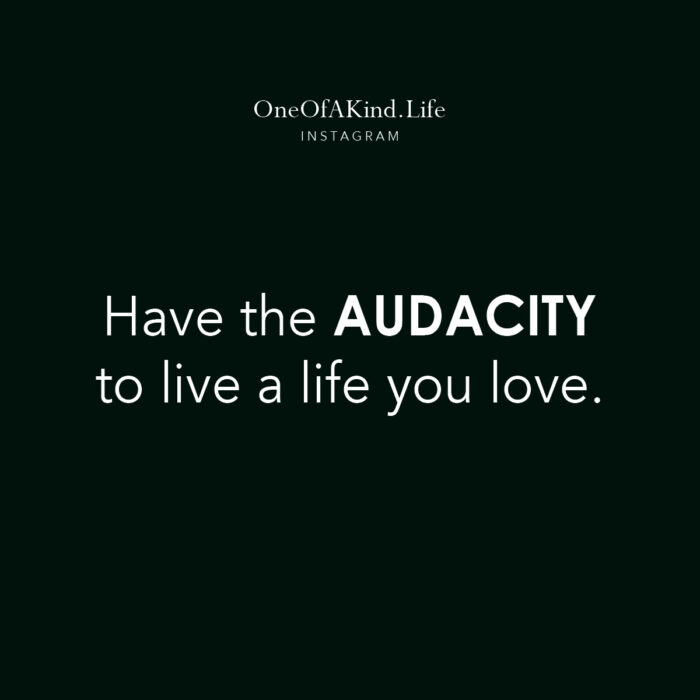 have the audacity to live a life you love