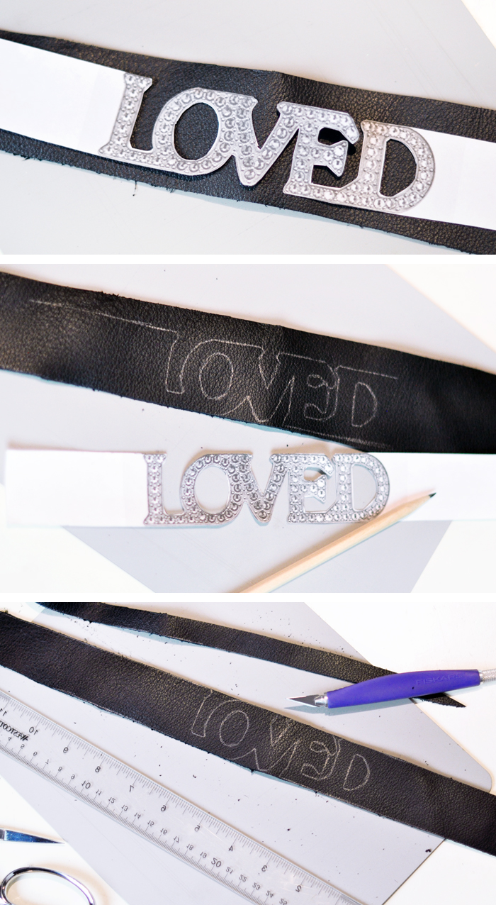 DIY Leather & Crystal LOVED Choker - Gucci