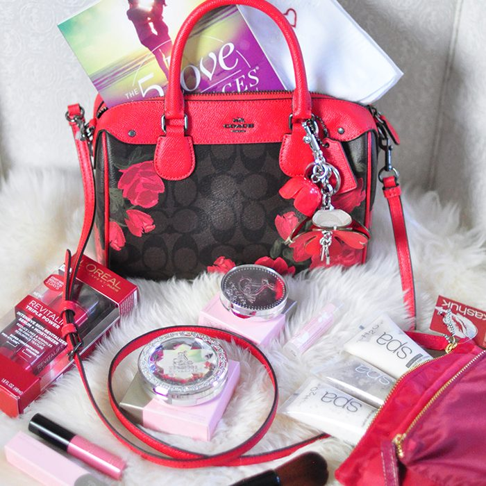 Coach Logo Bag with Roses and red leather accents - top duffel cross body bag - lovemaegan giveaway