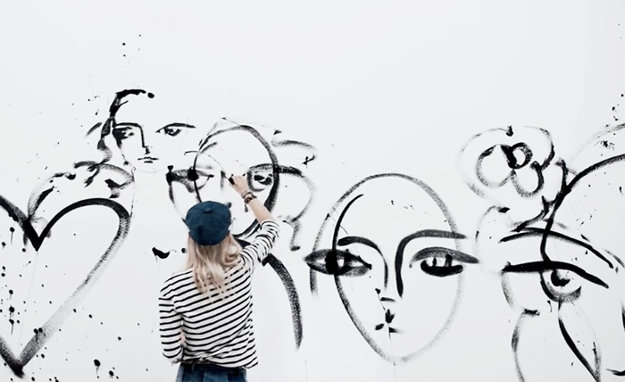 DIOR 2018 collection - art + fashion + model painting