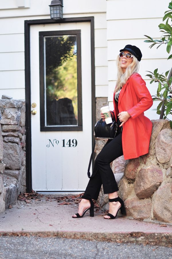 retro 60s style - spring look - black and red - vintage leather jacket - chanel