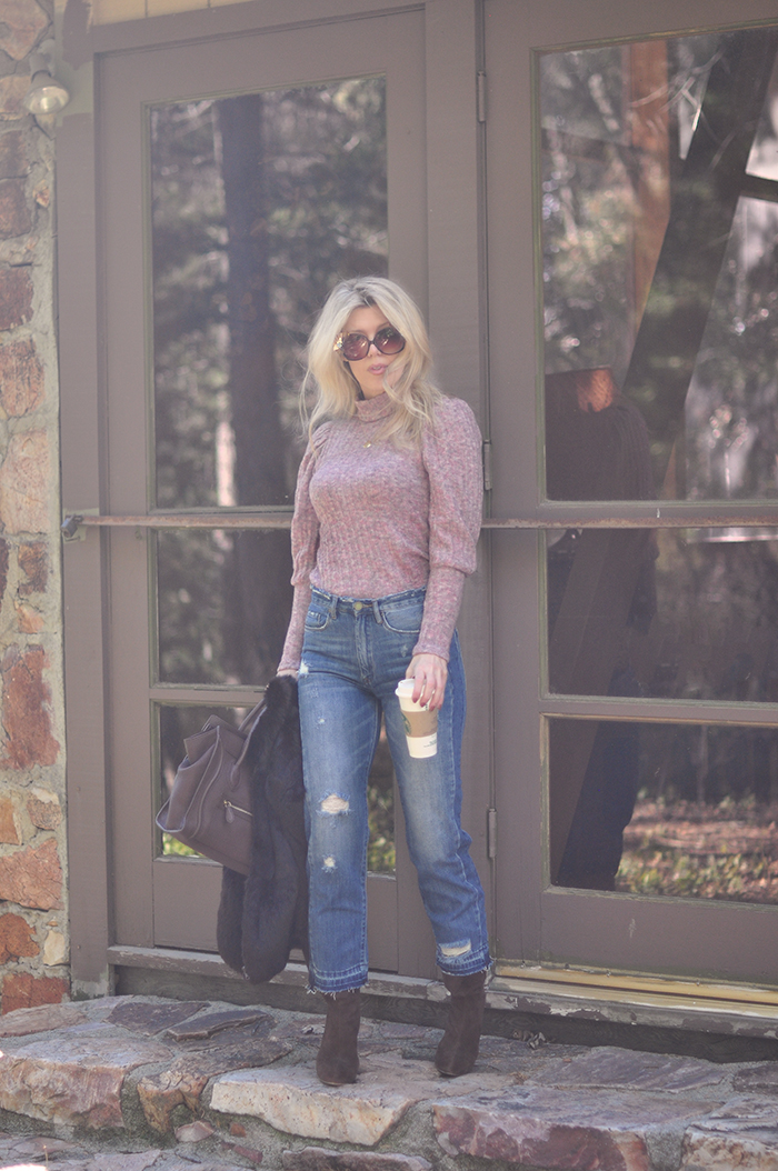 retro style-cropped high waist jeans-pink turtleneck with puff sleeves-70s-80s styles - love Maegan