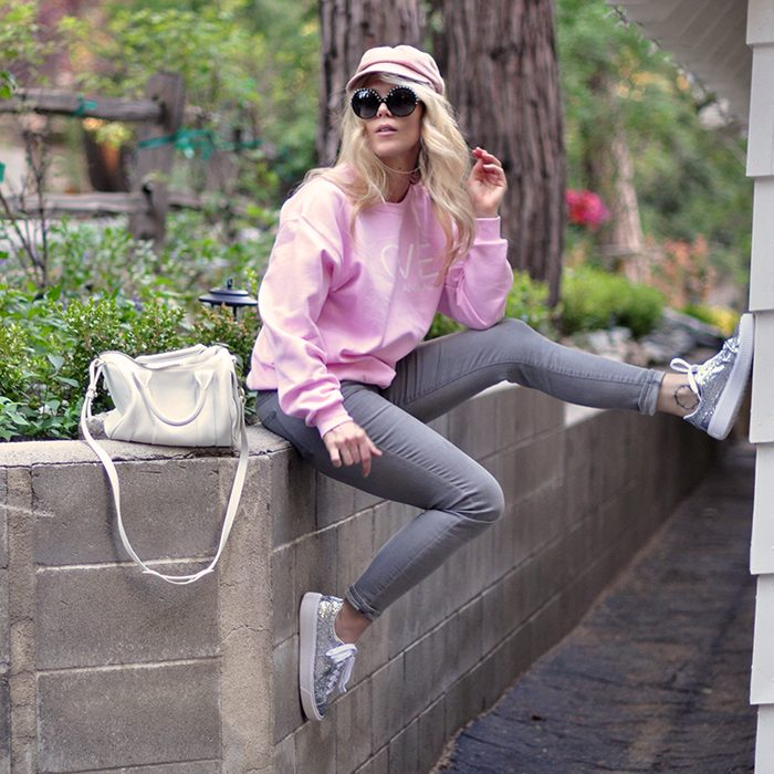 pink LOVE animals sweatshirt-glitter shoes-grey jeans-white alexander wang bag