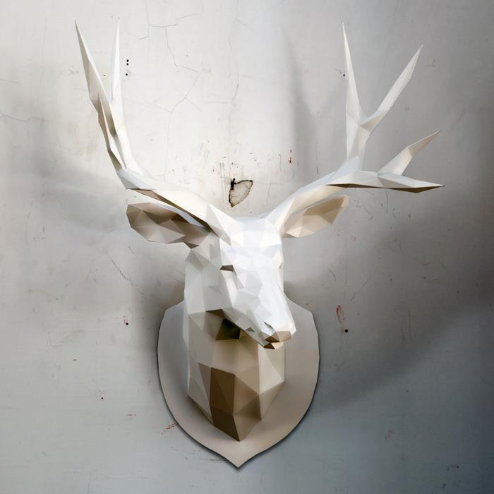 deer faux taxidermy head - DIY 3d paper wall sculptures