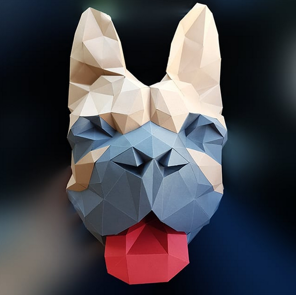 french bulldog faux taxidermy head - DIY 3d paper wall sculptures