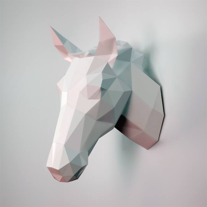horse faux taxidermy head - DIY 3d paper wall sculptures