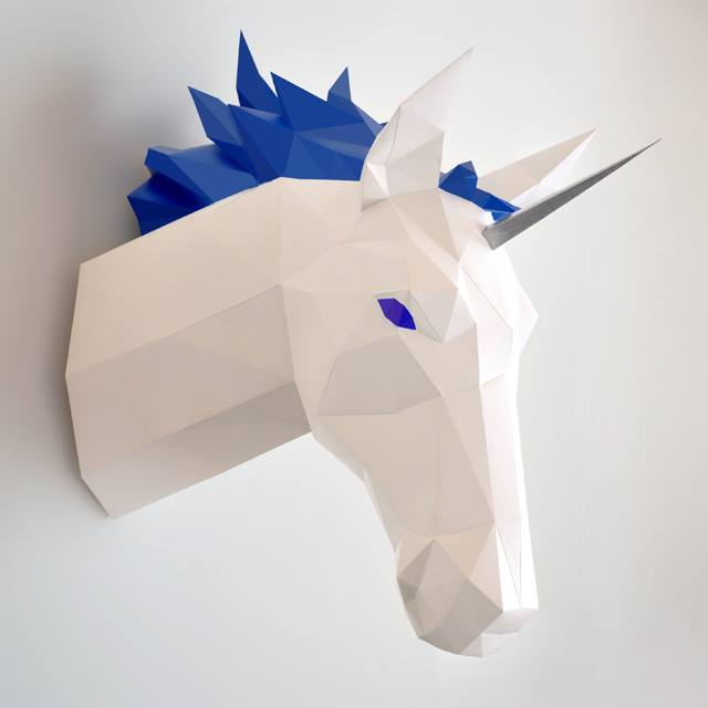 unicorn faux taxidermy head - DIY 3d paper wall sculptures