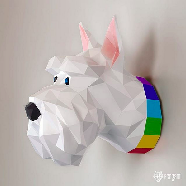dog faux taxidermy head - DIY 3d paper wall sculptures