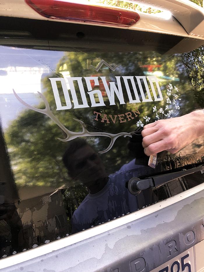Car logo sticker - dogwood Tavern - Blue Jay, Lake Arrowhead, California