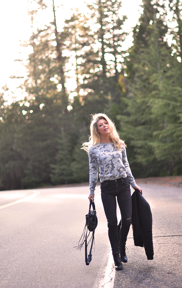 on the road, among the tall trees, in lake arrowhead, camo sweater, black jeans, easy style outfit, love maegan tintari