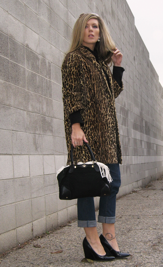 vintage leopard coat - gucci bag - cuffed jeans - black turtleneck - patent wedge pumps