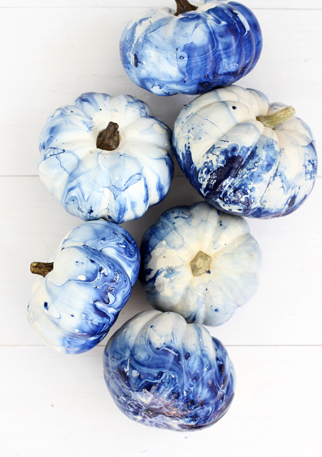 blue indigo marbled pumpkins diy