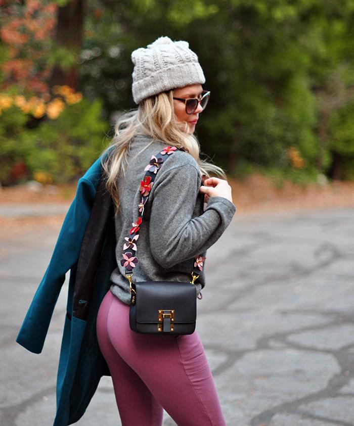 cozy fall style in fall colors-barton perreira sunglasses- diy fendi flower bag strap -love maegan tintari