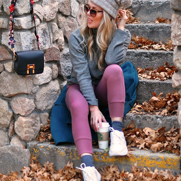 cozy fall style -mauve pink and grey-fendi strap diy-chunky dad shoes - love maegan tintari