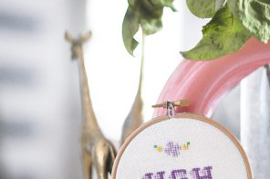 Gift Idea // Cute Embroidered Cross-Stitched Pop Art Hoops