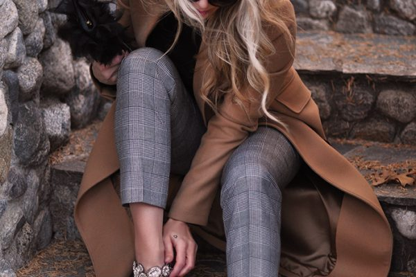 dressed up casual look-plaid pants-camel brown coat-embellished crystal mary janes-love maegan tintari