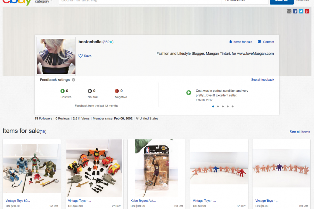 ebay seller profile - loveMaegan