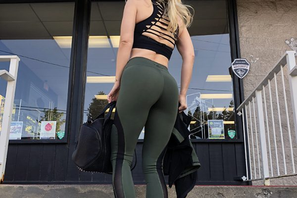 cute workout gear - leggings and lace up back tank- love maegan tintari