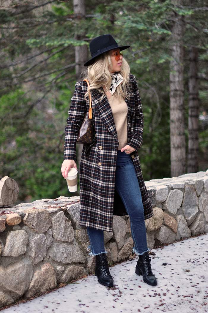 winter style, plaid coat, boots and jeans, silk scarf, louis vuitton bag, gucci oversized aviator sunglasses, black fedora hat - CA blogger style