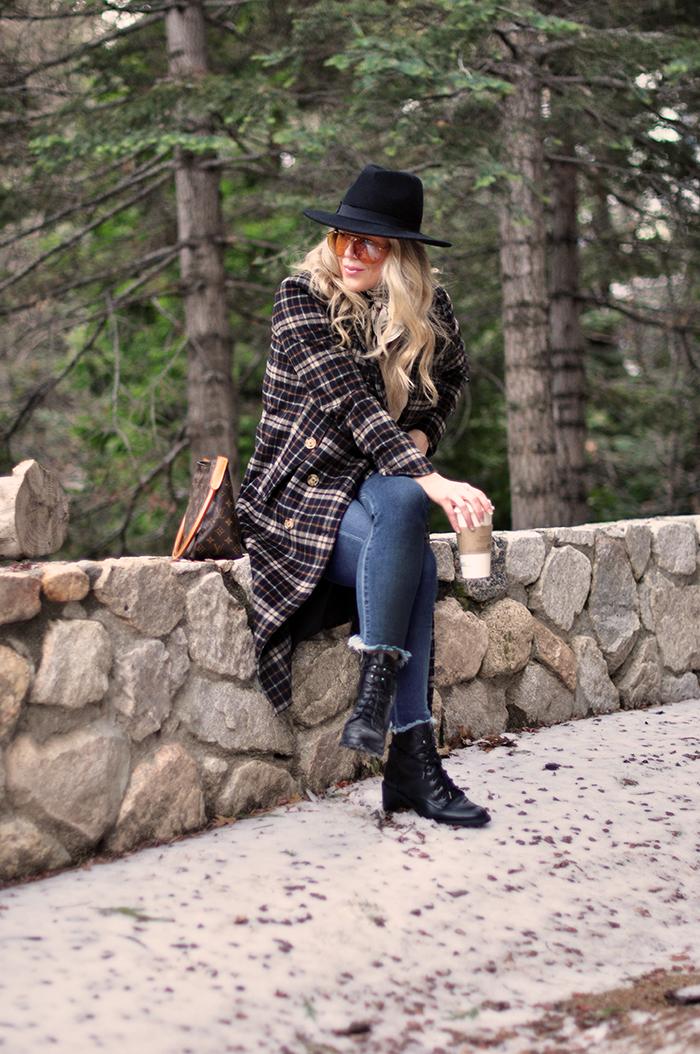 winter style, plaid coat, louis vuitton bag, lake arrowhead, mountain life, snow season, love maegan tintari blo