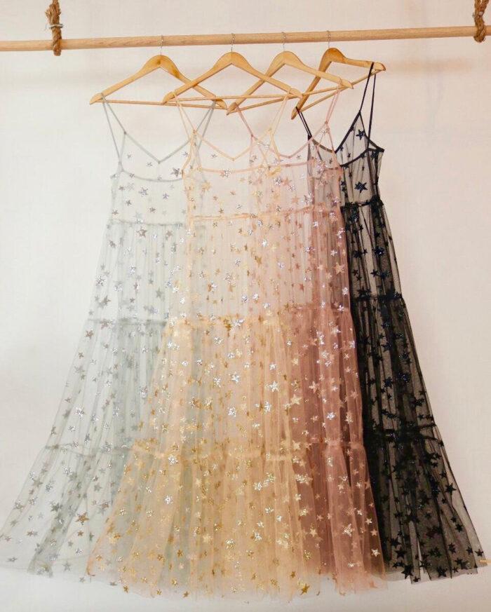 sheer glitter start dress