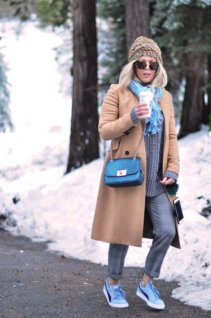 camel coat, grey outfit, sneakers with everything, love maegan