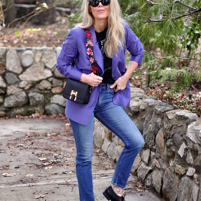 80s 90s look blazer and jeans flower bag strap pink floyd tee - love maegan tintari