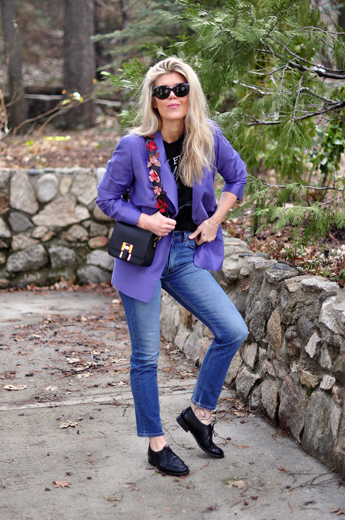 blazer and jeans - 80s 90s look - pink floyd tee - love maegan tintari