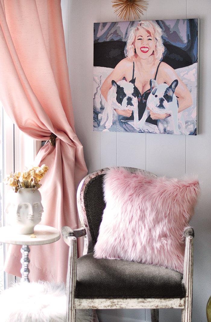 love maegan painting with french bulldogs inspired by Marilyn Monroe in home office