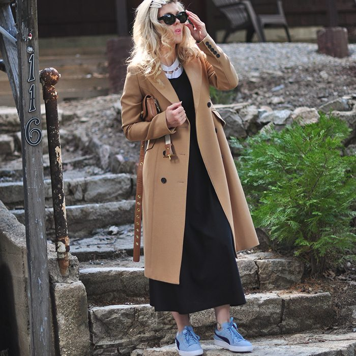 90s style-dress with t-shirt- puma sneakers-camel coat-hair clips