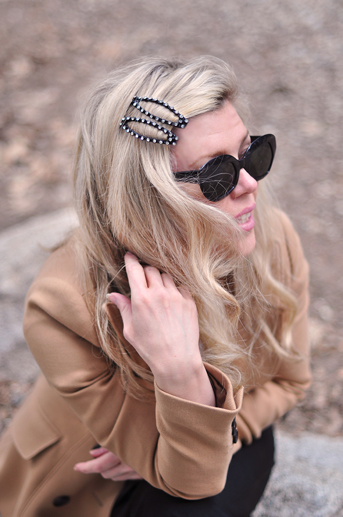 Big Hair clips with pearls and crystals DIY