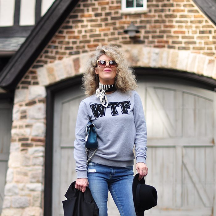 71882395cf9 Read More · casual style-WTF-sweatshirt -bootcut jeans-hat-big curly blonde  hair