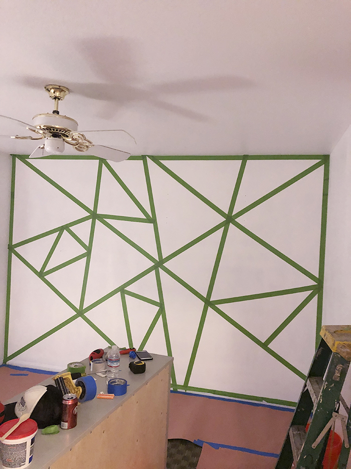 home decorating ideas-kids rooms-geometric accent feature wall in little girl's room