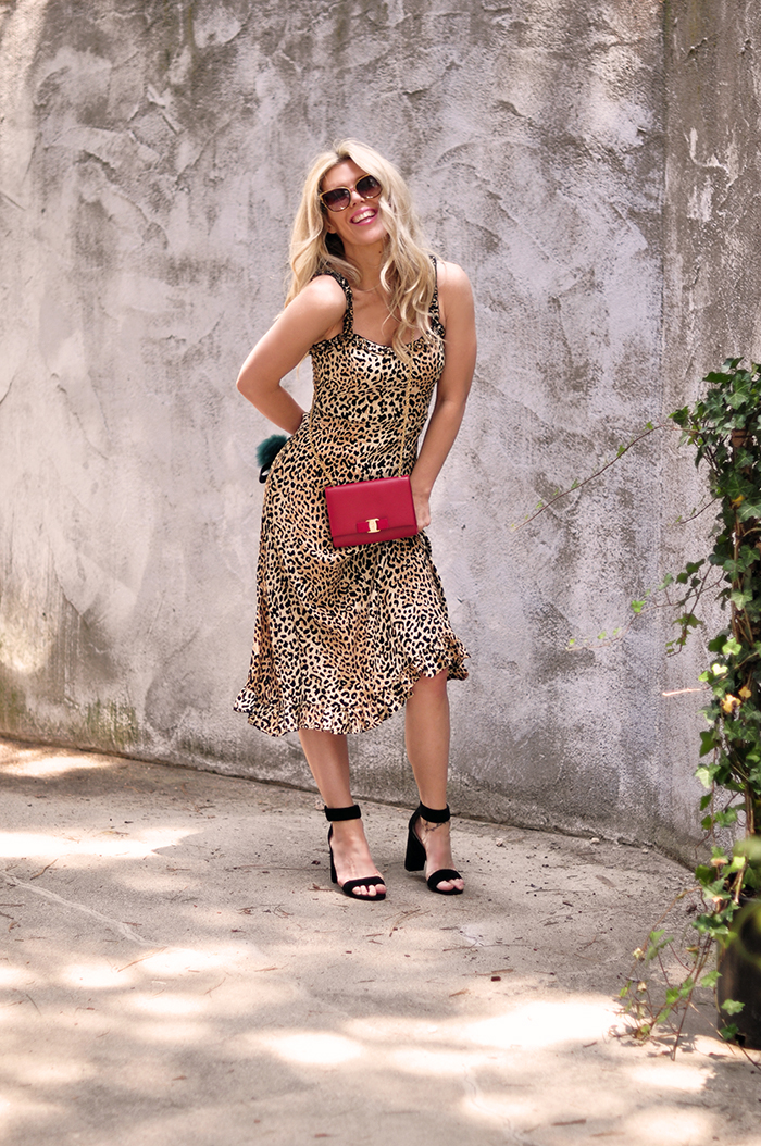 Summer mood - leopard slip dress with red bag and ankle strap heels - love maegan tintari