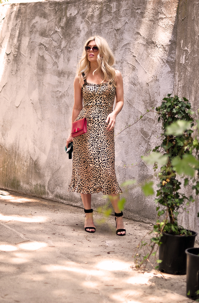 leopard slip dress with red bag and ankle strap heels - summer style - love maegan tintari
