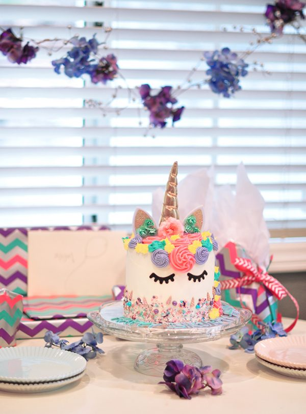 Unicorn cake birthday party