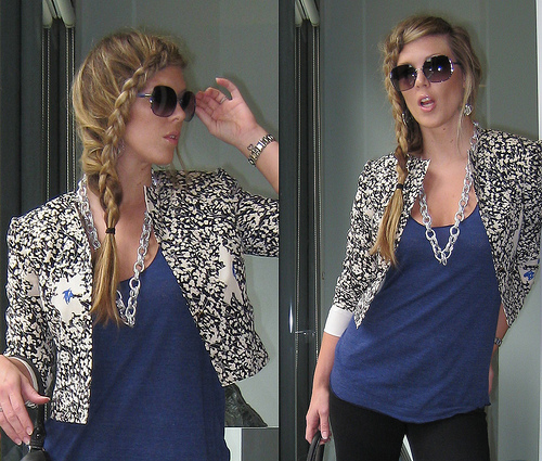Front long french braid + floral jacket + black and blue