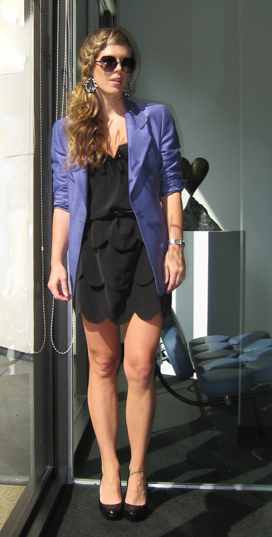 Little black dress belted with blazer