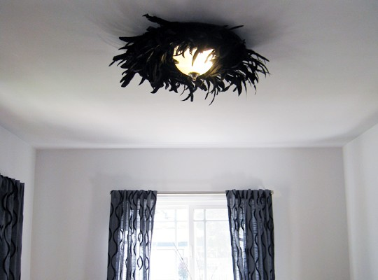 Easy feather light fixture diy