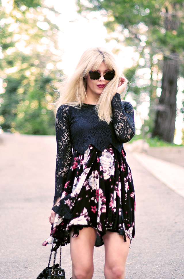 90s floral dress with lace crop top
