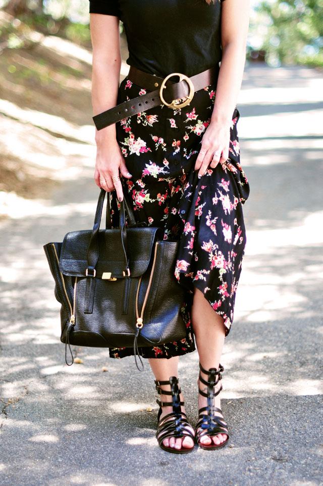 90s floral maxi skirt -phillip lim bag-gladiator sandals